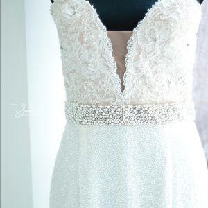 White beaded long dress